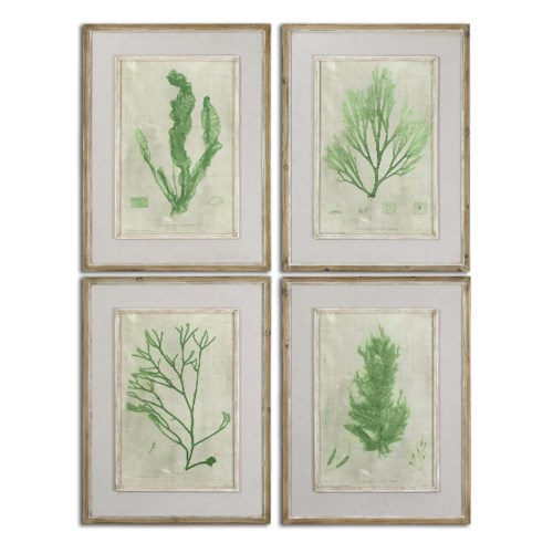 Uttermost Art Emerald Seaweed Framed Art Set of 4