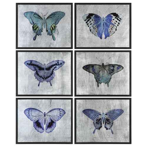 Uttermost Art Vibrant Butterflies (Set of 6)