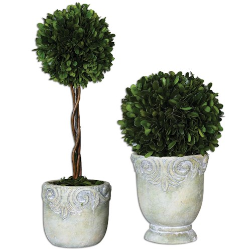 Uttermost Botanicals Preserved Boxwood Ball Topiaries S/2