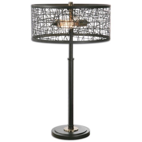 Uttermost Lamps Alita Black Drum Shade Lamp