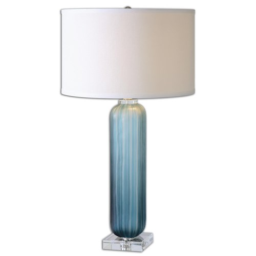 Uttermost Lamps Caudina Frosted Blue Glass Lamp