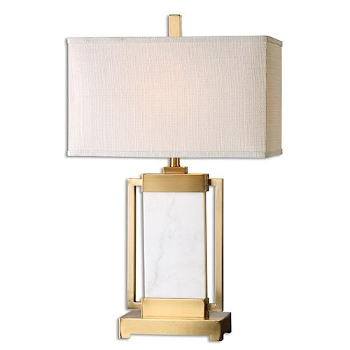 Uttermost Lamps Marnett White Marble Table Lamp