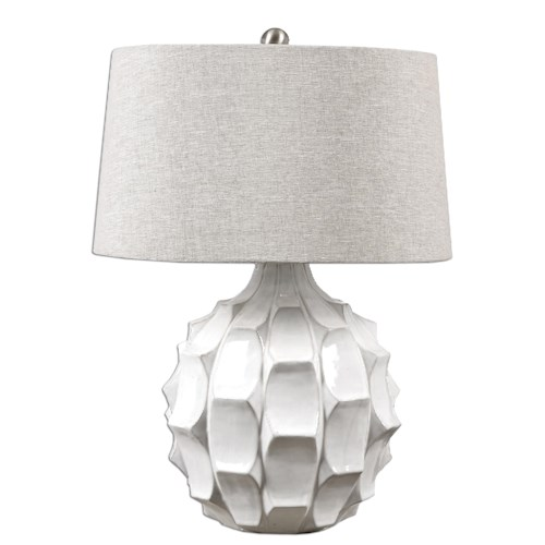 Uttermost Lamps Guerina Scalloped White Lamp