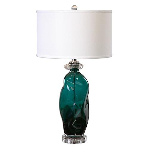 Uttermost Lamps Rotaldo Blue-Green Glass Table Lamp