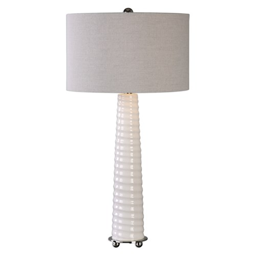 Uttermost Lamps Mavone Gloss White Table Lamp