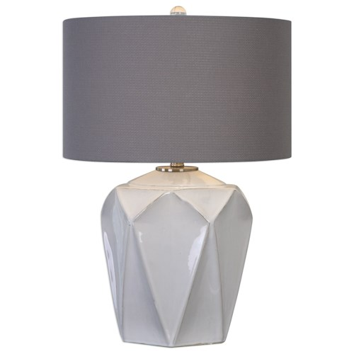 Uttermost Lamps  Elvilar Gloss White Table Lamp