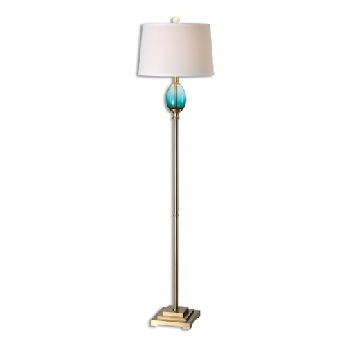 Uttermost Lamps Cavaillon Blue-Green Glass Floor Lamp