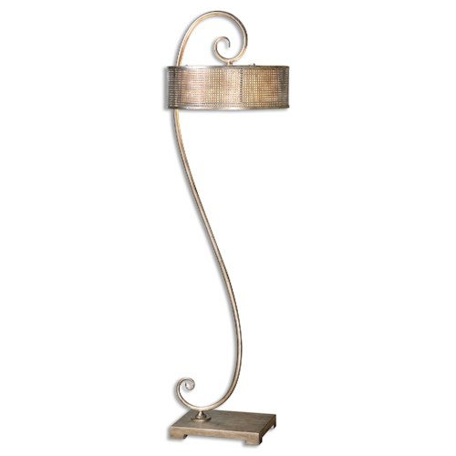 Uttermost Lamps Dalou Scroll Silver Floor Lamp