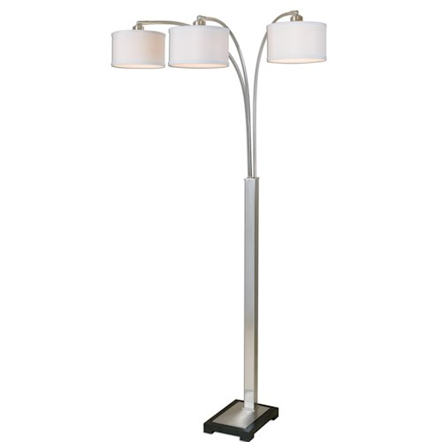 Uttermost Lamps Bradenton Nickel 3 Light Floor Lamp