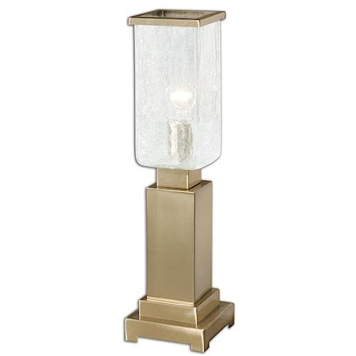 Uttermost Lamps Vinchio Crackled Glass Hurricane Lamp