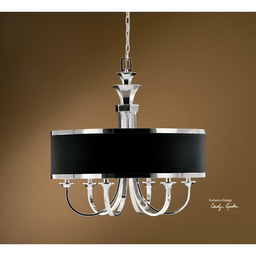 Uttermost Lighting Fixtures Tuxedo 6-Light Single Shade Chandelier