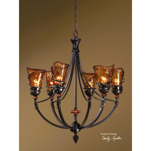Uttermost Lighting Fixtures Vitalia 6 Light Chandelier