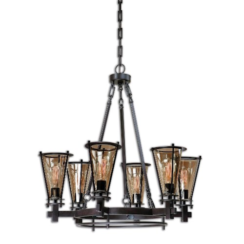 Uttermost Lighting Fixtures Uttermost Frisco 6 Light Metal Chandelier