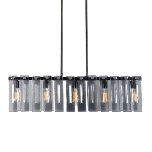 Uttermost Lighting Fixtures Everly 5 Light Smoke Glass Island