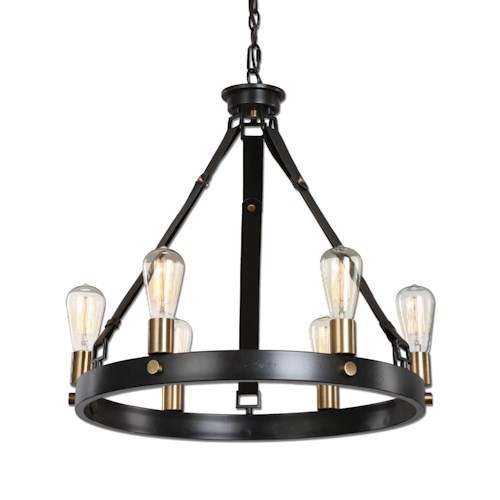 Uttermost Lighting Fixtures Marlow 6 Light Antique Bronze Chandelier