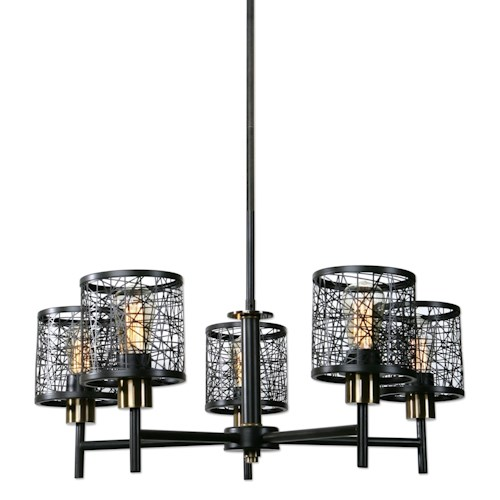 Uttermost Lighting Fixtures ThinAlita 5 Light Bronze Chandelier