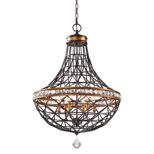 Uttermost Lighting Fixtures Cestino 6 Light Geometric Pendant