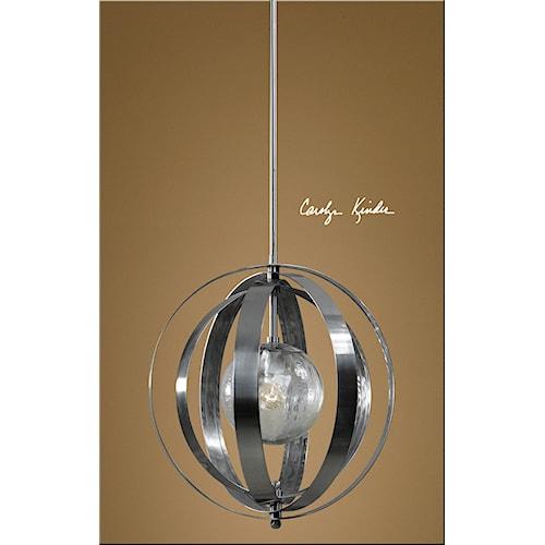 Uttermost Lighting Fixtures Trofarello Silver 1 Light Pendant