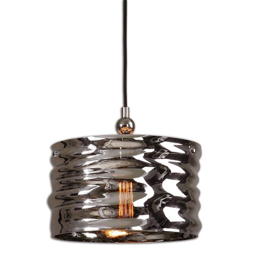 Uttermost Lighting Fixtures Aragon 1 Light Nickel Glass Pendant