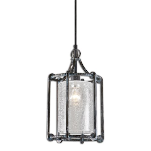 Uttermost Lighting Fixtures Uttermost Generosa 1 Light Crackle Glass Lantern