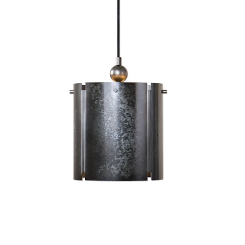 Uttermost Lighting Fixtures Norton 1 Light Mini Galvanized Metal Pendant