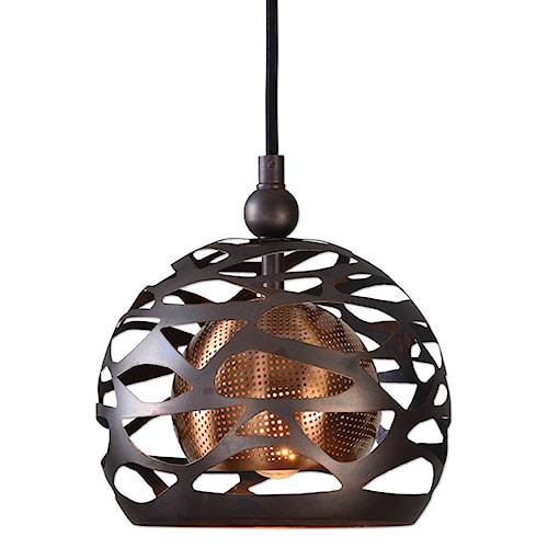 Uttermost Lighting Fixtures Parth 1 Light Bronze Mini Pendant
