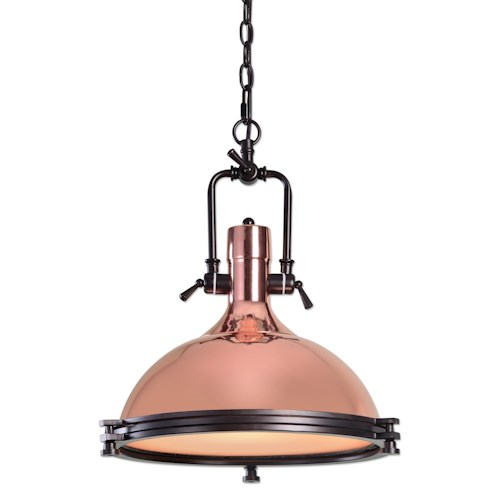 Uttermost Lighting Fixtures Bingham 1 Light Industrial Pendant