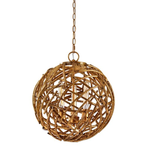 Uttermost Lighting Fixtures Sphera 3 Light Gold Pendant