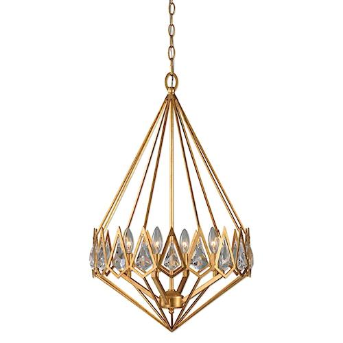 Uttermost Lighting Fixtures Eclatant 4 Light Gold Diamond Pendant