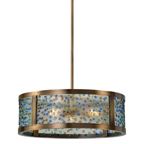 Uttermost Lighting Fixtures Fuso 3 Light Drum Pendant
