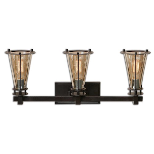 Uttermost Lighting Fixtures Frisco 3 Light Rustic Vanity Strip