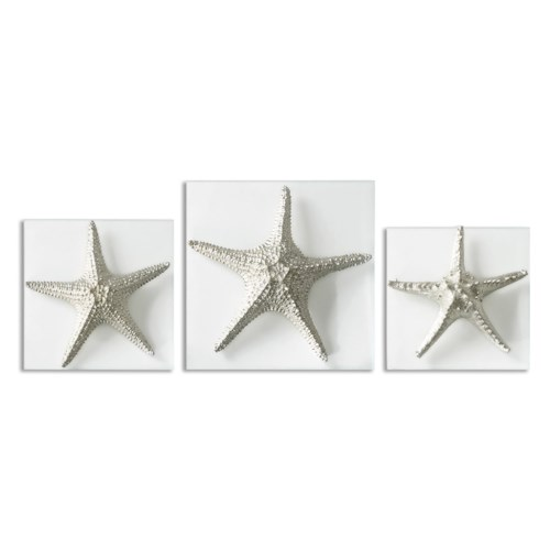 Uttermost Alternative Wall Decor Silver Starfish Wall Art, S/3