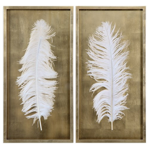 Uttermost Alternative Wall Decor White Feathers (Set of 2)
