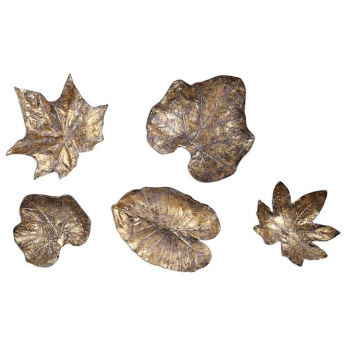 Uttermost Alternative Wall Decor  Bronze Leaves Wall Art (Set of 5)
