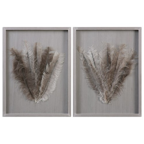 Uttermost Alternative Wall Decor  Jalana Ostrich Feathers Shadow Box (Set of 2)