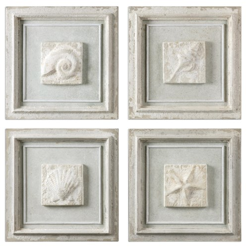 Uttermost Alternative Wall Decor Matira Stone Wall Art, S/4