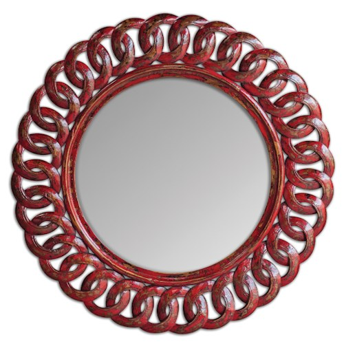 Uttermost Mirrors Sassia Red Round Mirror