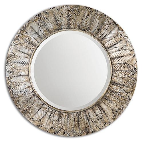 Uttermost Mirrors Foliage Round Silver Leaf Mirror