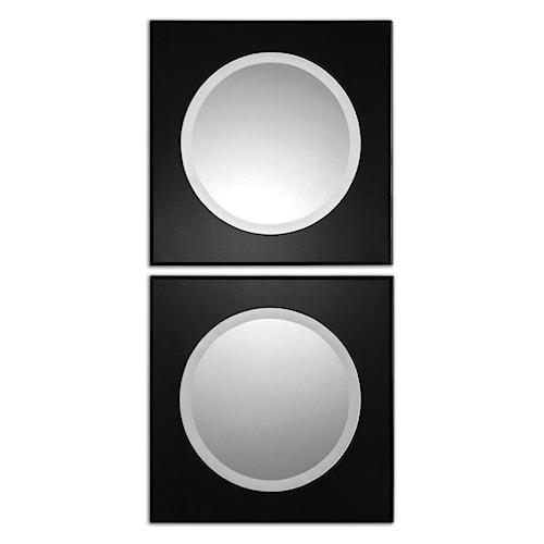 Uttermost Mirrors Girard Black Square Mirrors Set of 2