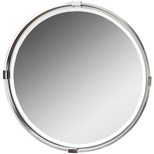 Uttermost Mirrors Tazlina Brushed Nickel Round Mirror