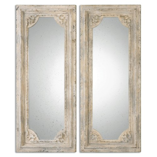 Uttermost Mirrors Rapallo Aged Ivory Mirrors, S/2