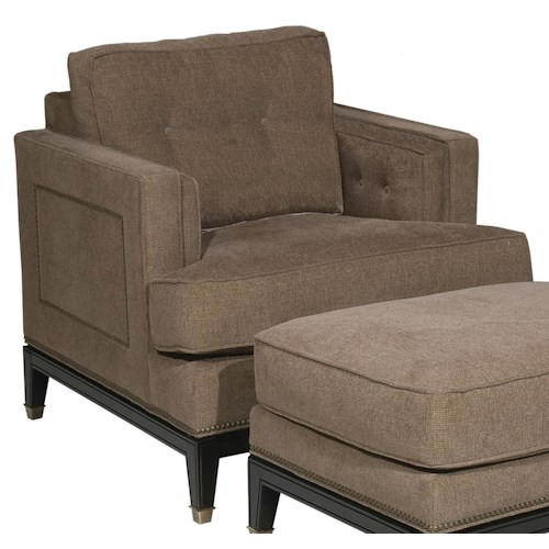 Vanguard Furniture Accent Chairs Casual Whitaker Upholstered Chair with Exposed Wood Legs