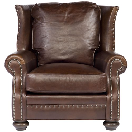 Vanguard Furniture Accent Chairs Kilgore Upholstered Wing Chair with Nail Head Trim