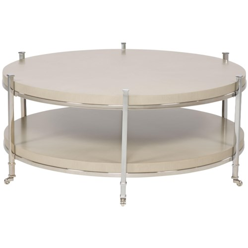 Vanguard Furniture Accent and Entertainment Chests and Tables Gibson Round Cocktail Table with Shelf and Stainless Steel Legs and Casters