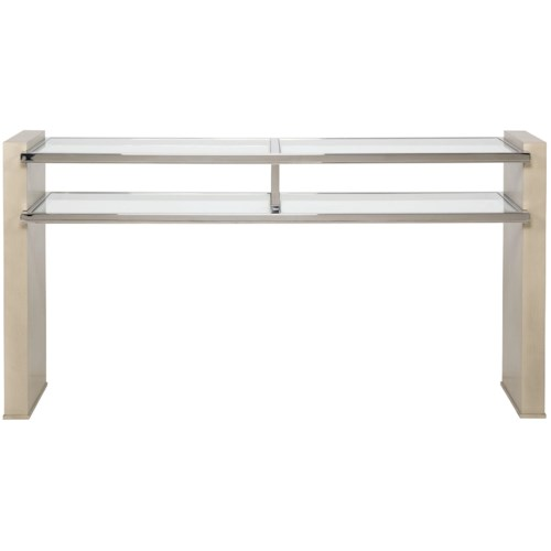 Vanguard Furniture Accent and Entertainment Chests and Tables Contemporary Console with Glass Top and Shelves