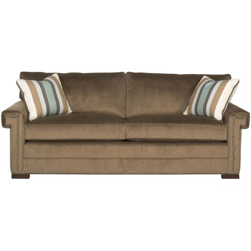 Vanguard Furniture Davidson Transitional Two Cushion Sleeper Sofa with Greek Key Arms
