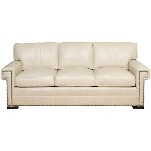 Vanguard Furniture Davidson Transitional Three Cushion Sofa with Greek Key Arms
