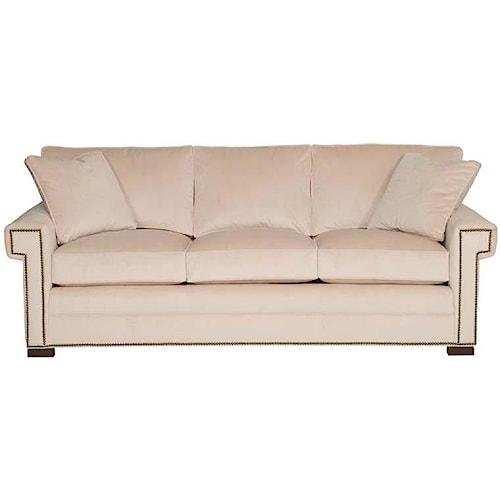 Vanguard Furniture Davidson Transitional Three Cushion Sleeper Sofa with Greek Key Arms
