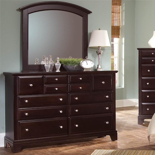 Vaughan Bassett Hamilton/Franklin Triple Dresser with Rectangular Mirror