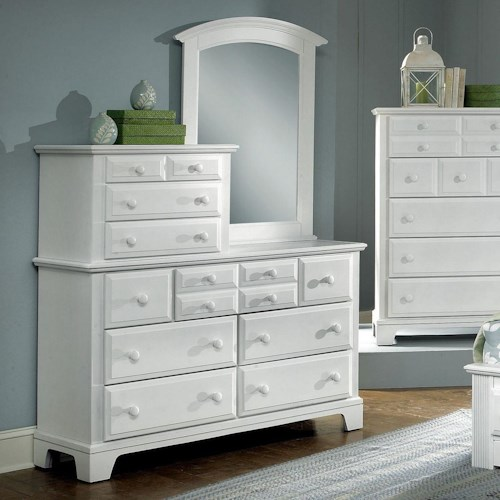 Vaughan Bassett Hamilton/Franklin 10 Drawer Dresser with Vertical Mirror